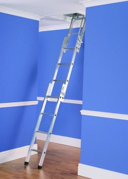 Three Section Aluminium Loft Ladder to BSEN14975