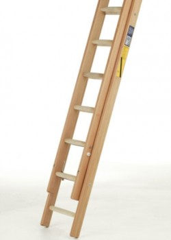 Industrial Timber Ladder with Hardwood Rungs-Two Section Push Up to BS1129 Class 1:1990