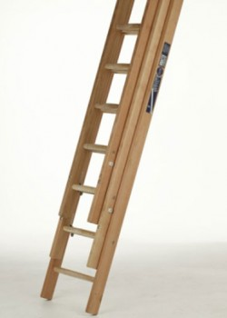 Industrial Timber Ladder with Hardwood Rungs-Three Section Push Up to BS1129 Class 1:1990