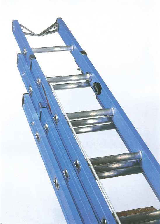 3 Section Extension Ladder : Glass fibre telecommunication ladder three section to en