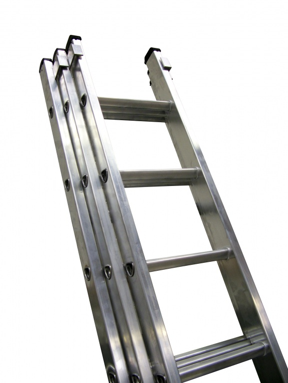 3 Section Extension Ladder : Industrial aluminium extension ladder three section push