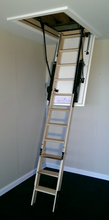The skylark 3 section electric timber folding loft ladder for Folding stairs