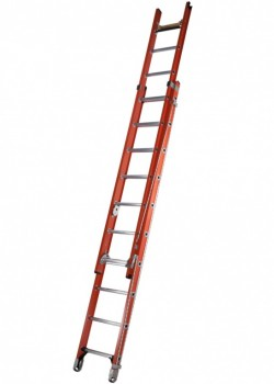 Glass Fibre Rope Operated Double Extension Ladder C/W Bow Rung & Rope Lash